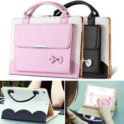 Cute Carrying Handbag Leather Stand Case Cover for iPad mini/2/3/4/Air/Air2/Pro