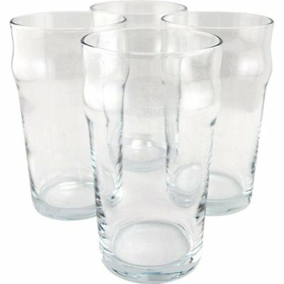 British Style Imperial Pint Glass with Etched Seal - Set of 4 - Gift Boxed