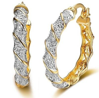 """SALE 9ct 9k """"Gold Filled"""" Prom Girl  Large Hoop Earrings Birthday FREE GIFT BOX"""