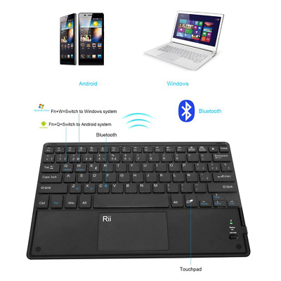 Teclado Ultra Delgado Recargable Multi-Touchpad Rii Bluetooth QWERTY Español