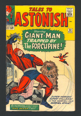 """TALES TO ASTONISH #53 """"1964"""". Early appearances of GIANT-MAN and The WASP!"""