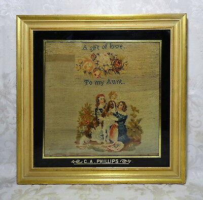 Antique 19th Century Hand Made Cross Stitch Sampler Children and Dog To My Aunt