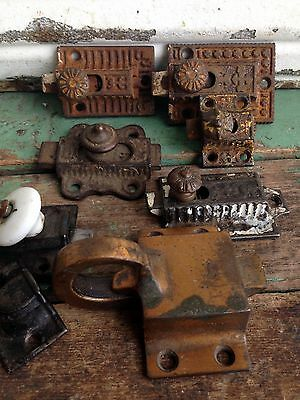 Lot of  7 Assorted Antique Cup Board Latch Door Lock Victorian East Lake Vintage