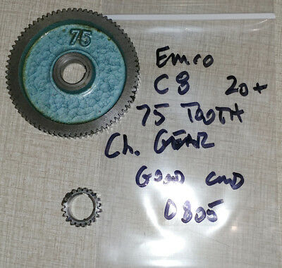 Emco Compact 8 Lathe 75 & 20 Tooth Change Gears 0805