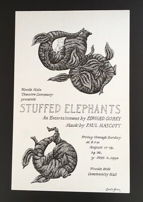 Edward Gorey *Stuffed Elephants* poster ILLUS/SIGNED BY GOREYw/theatrical button