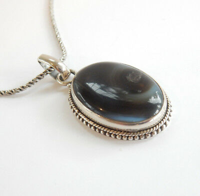 Vintage Solid Silver Natural Agate Stone Necklace Hallmarked