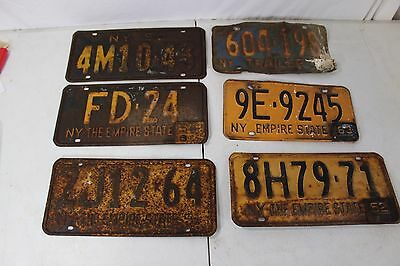 Lot o 6 New York 1950s License Plate + Tags NY Trailer Truck Vintage 51 Man Cave