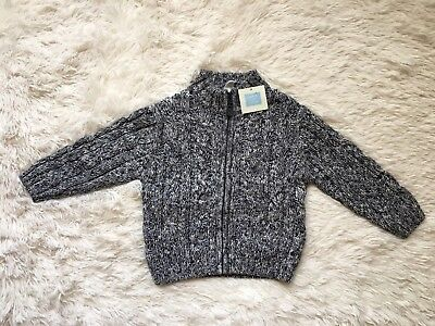 Janie and Jack Cable Knit Zip Up Sweater Gray Boy Size 12-18 Months