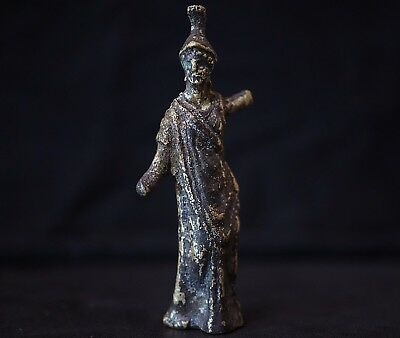 Stunning Ancient Roman Bronze Statue. Cult of Goddess Minerva, circa 250-350 AD.