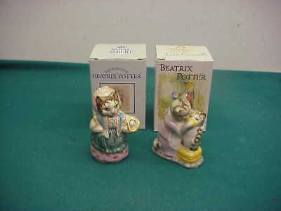 2 vintage Beatrix Potter Royal Doulton box Tabitha Twitchit Cousin Ribby figures