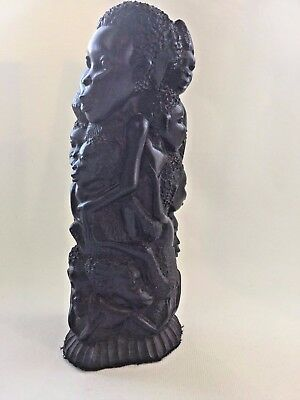 Carved Ebony Black Wood African Tree of Life Sculpture