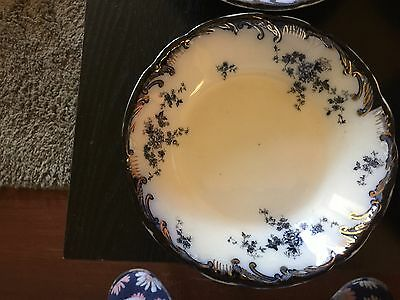 "4 - Antique Flow Blue & Gold Ridgway Flat Soup Bowls Heavy Flow Blue ""Chiswick"""