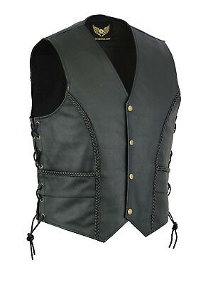 New Motorcycle Biker Style Men Braided side laces leather waistcoat UK Stock