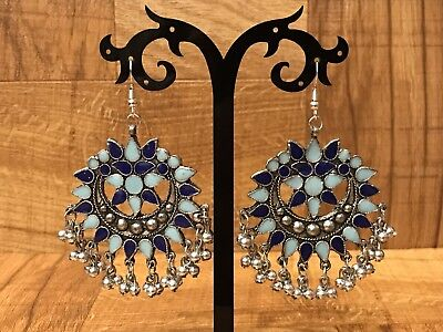 Indian Pakistani Afghani Bollywood Blue Oxidised German Silver Earring 1160
