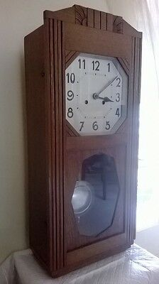 Vintage Art Deco Wooden Striking Wall Clock