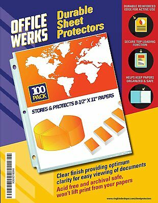 Officewerks Clear Sheet Protectors - 100 Pack, Reinforced Holes, 8.5 x 11 Inches