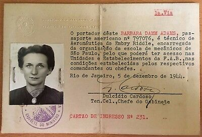 1944 BRAZILIAN AERONAUTICS MINISTRY PASSPORT ID CARD Woman AVIATION WWII-era