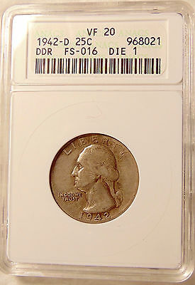 1942-D Washington Quarter - ANACS VF20 (DDR FS-801) -  Very Nice Coin