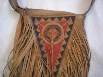 "Native American Hand Made Leather & Painted Satchel ShoulderBag 10""x10"" 3 Pocket"