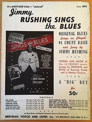 RARE c1943 BROADSIDE PROMO Jimmy Rushing Sings the Blues COUNT BASIE Music JAZZ