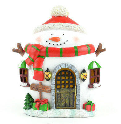 Fairy Garden Christmas Miniature - Christmas Snowman House with Red Scarf LED
