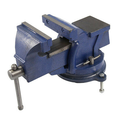 """5"""" Bench vice workshop clamp hardened jaw swivel work base table engineers B7L4"""