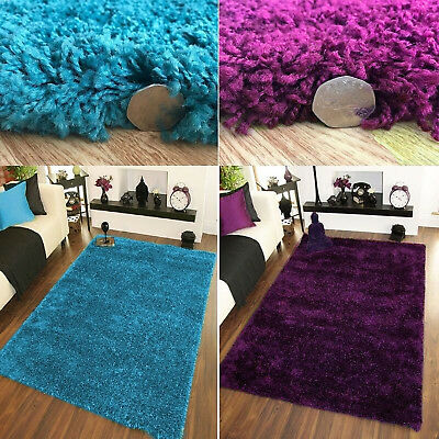 Fluffy Solid Plain Shaggy Teal Blue/Aubergine Small Large Mats Cheap Prices Rugs