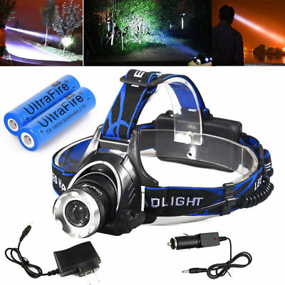 90000LM T6 LED Headlamp Rechargeable Headlight Head Lamp + 2Pcs 18650 + Charger
