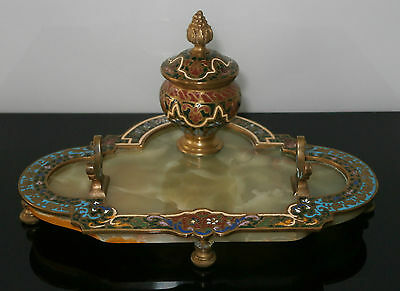 Superb French Antique Bronze Champleve Inkwell (Cloissonne) c1890-00