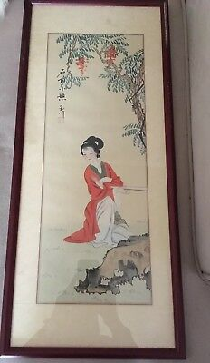 Vintage Watercolor On Parchment Japanese Lady - framed and signed painting.