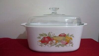 Corning Ware Casserole 5 Litre Square - Garden Harvest Design - Great Used Cond