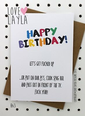 Greeting Card/Birthday Card/PJ's/Spag Bol/Bday/Funny/Humour/Love Layla Aust/ H63