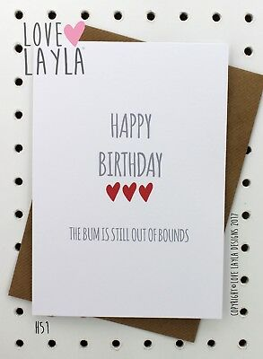Birthday Card/Greeting Card/Bum Out of Bounds/Fun/Funny/Humour/Love Layla Au/H51