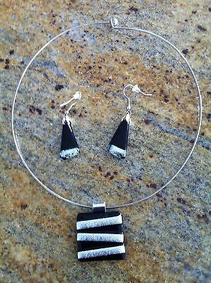 Matching Hand made Glass necklace & earrings