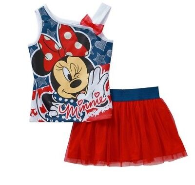 DISNEY MINNIE MOUSE Girls Tank Top And Tulle Skirt Set Red/White/Blue 2T