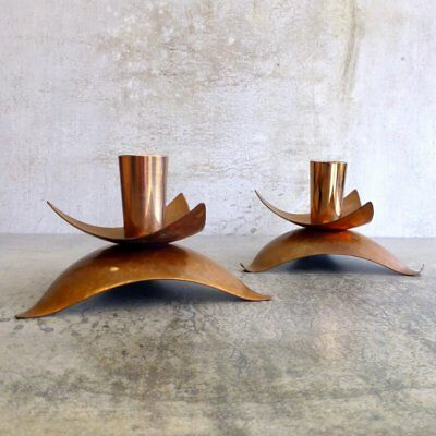2 Mid Century Modern Copper Candle Holders Matching Pair Vintage Aged Tarnished