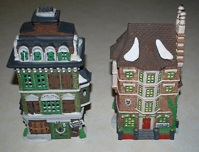 Dept 56 Dickens Village Flats of Ebenezer Scrooge AND Nephew Fred, Lot TWO