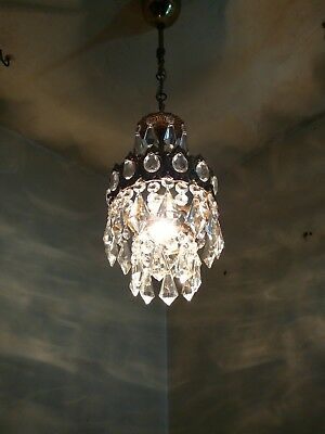 Vintage Brass and Crystal  Old Small Basket Chandelier