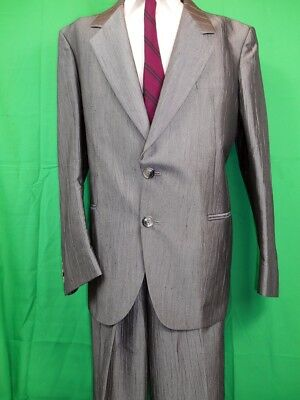 Vintage 1980s 2-Piece Silver Grey Texture Poly Viscose Power Suit Size 40R 34W