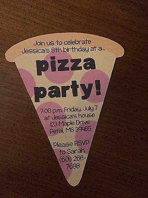 Pizza Party invitations! Birthday, TMNT?, girl or boy! PERSONALIZED! 10 Printed.