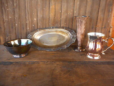 Farmhouse French Country Vintage 4 Piece Lot Estate Silver Bowls Dishes Vase mis
