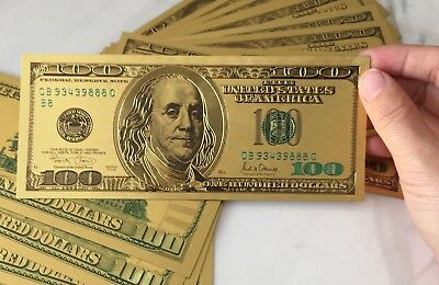 1 x  24K USA Gold Foil Dollars $100 Banknotes Collections Novelty Arts Gifts