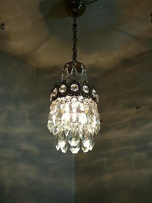 Vintage Brass & Crystal  Old Small Basket Chandelier / Lamp