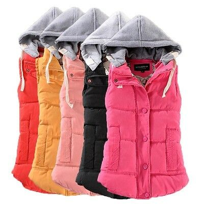 Plus Size Winter Women Vest Hooded Jacket Warm Gilet Ladies Sleeveless Waistcoat
