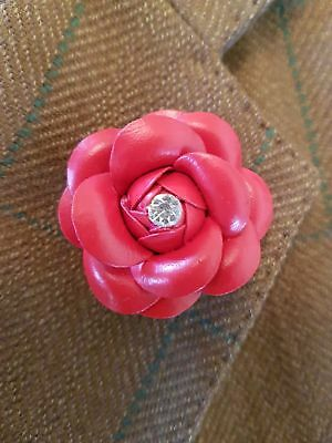 Red Leather Lapel Pin