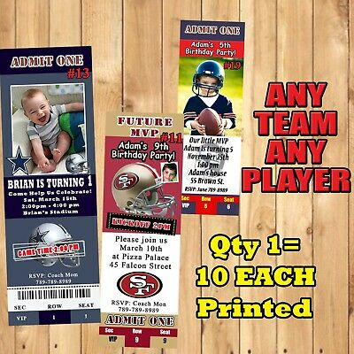 Football NFL Birthday Invitations 10 ea w/Env Personalized Custom Made