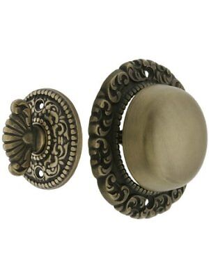 Small Scroll Design Twist Door Bell In Antique Brass. Hand-Turn Doorbell.