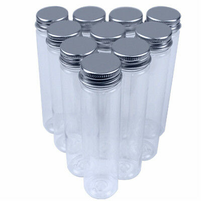 15 Clear Plastic Flat-bottomed 110 ml Test Tubes with Caps & Test Tube Brush