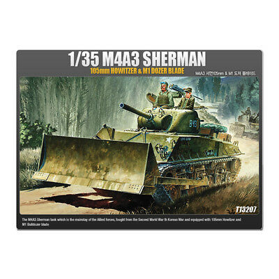 ACADEMY #13207 1/35 Plastic Model Kit M4A3 Sherman 105mm Howitzer&M1 Dozer Blade
