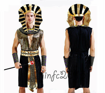 Mens Egyptian King Pharaoh Ancient Egypt Greek God Fancy Dress Cosplay Costumes